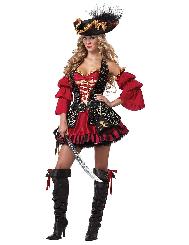 KULTFAKTOR GmbH Edles Piratin Damen-Kostüm rot-Gold-schwarz L