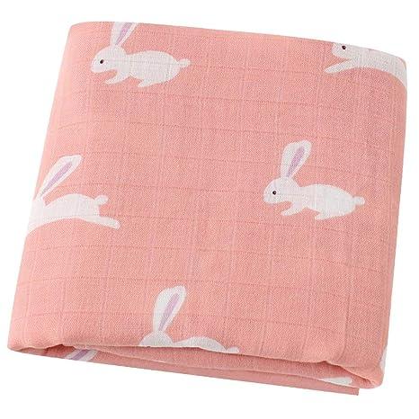 """Lebze Muselina Manta Bebé -""""Diseño de Conejo"""" Bambú Algodón Grande 120x120 cm"""