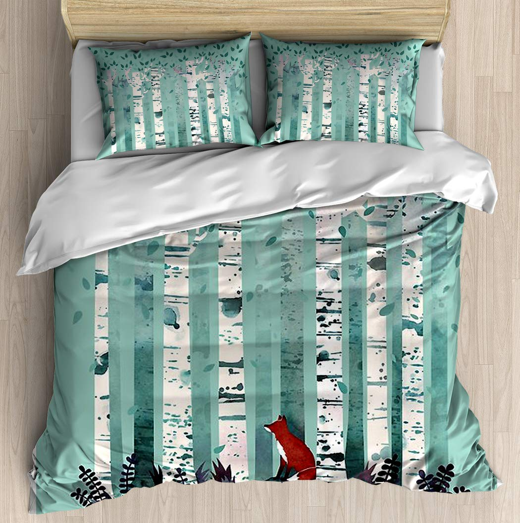 SINOVAL The Birches with Fox Animal Forest Twin/Twin XL Extra Long Brushed Microfiber 1 Duvet Cover 2 Pillow Shams Zipper Closure