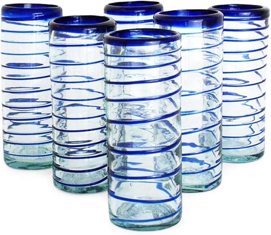 NOVICA Hand Blown Cobalt Blue Swirl Recycled Glass Tumbler Glasses, 9 Oz 'Cobalt Spiral' (Set Of 6)