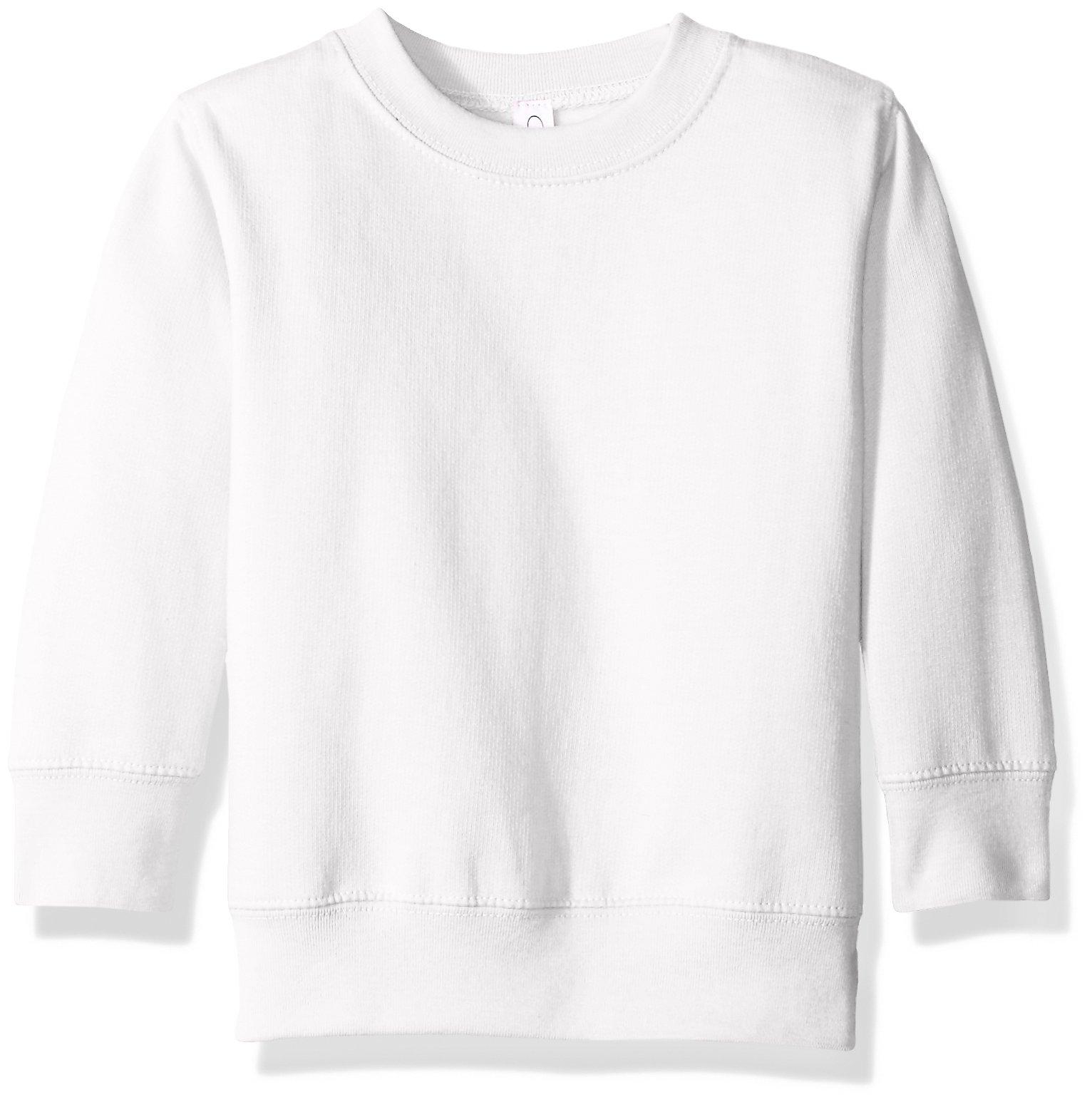 Clementine Apparel Girls' Little (2-7) Apparel Toddler's Fleece Sweatshirt, White, 4T by Clementine Apparel