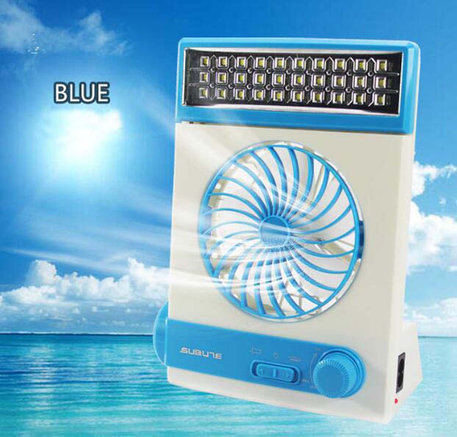 Hzhy Mini Charger Solar Fans Student Dormitory Fan With LED Multifunction Fans (Color : Blue)