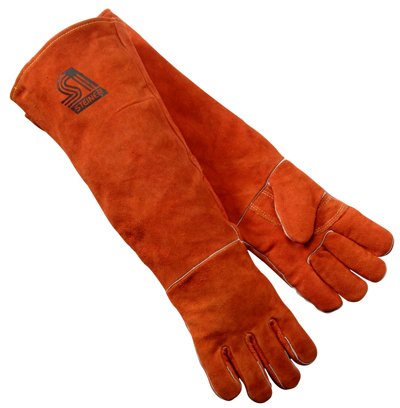 Steiner 21923 L Welding Gloves Burnt orange Y Series 23 Inch Length Shoulder Split Cowhide Foam Lined Large