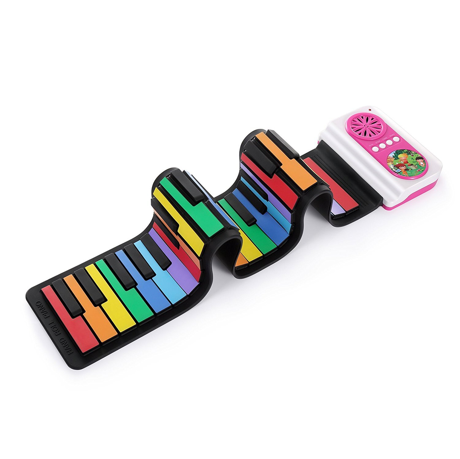 aPerfectLife Roll up Keyboard Piano, Rainbow Color 37 Standard Keys Flexible Kids Piano Keyboard with Inbuilt Speaker Educational Toy for Children