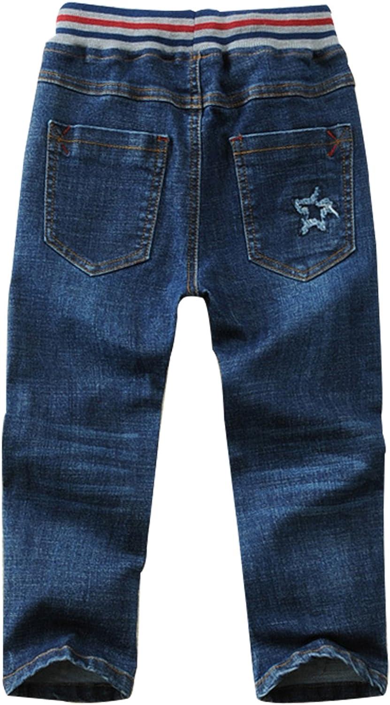 jiayou Boys Kids Drawstring Elastic Mid Waist Full Length Straight Pants Denim Jeans