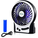 efluky 3 Speeds Mini USB Fan, Rechargeable Battery Fan with LED Light and 2200mAh Battery, Portable Fan Quiet for Office, Travel, Camping Fan, 4.5-Inch, Black