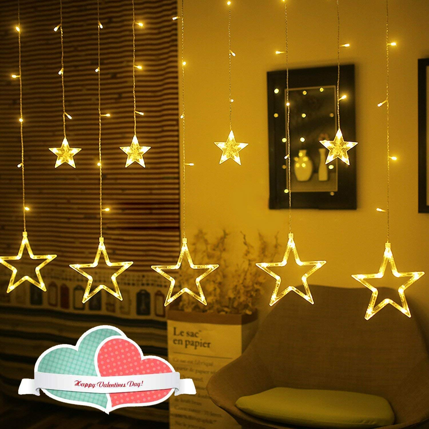 Amazon Rywell Led Star String Lights Indoor Outdoor 66ft 12