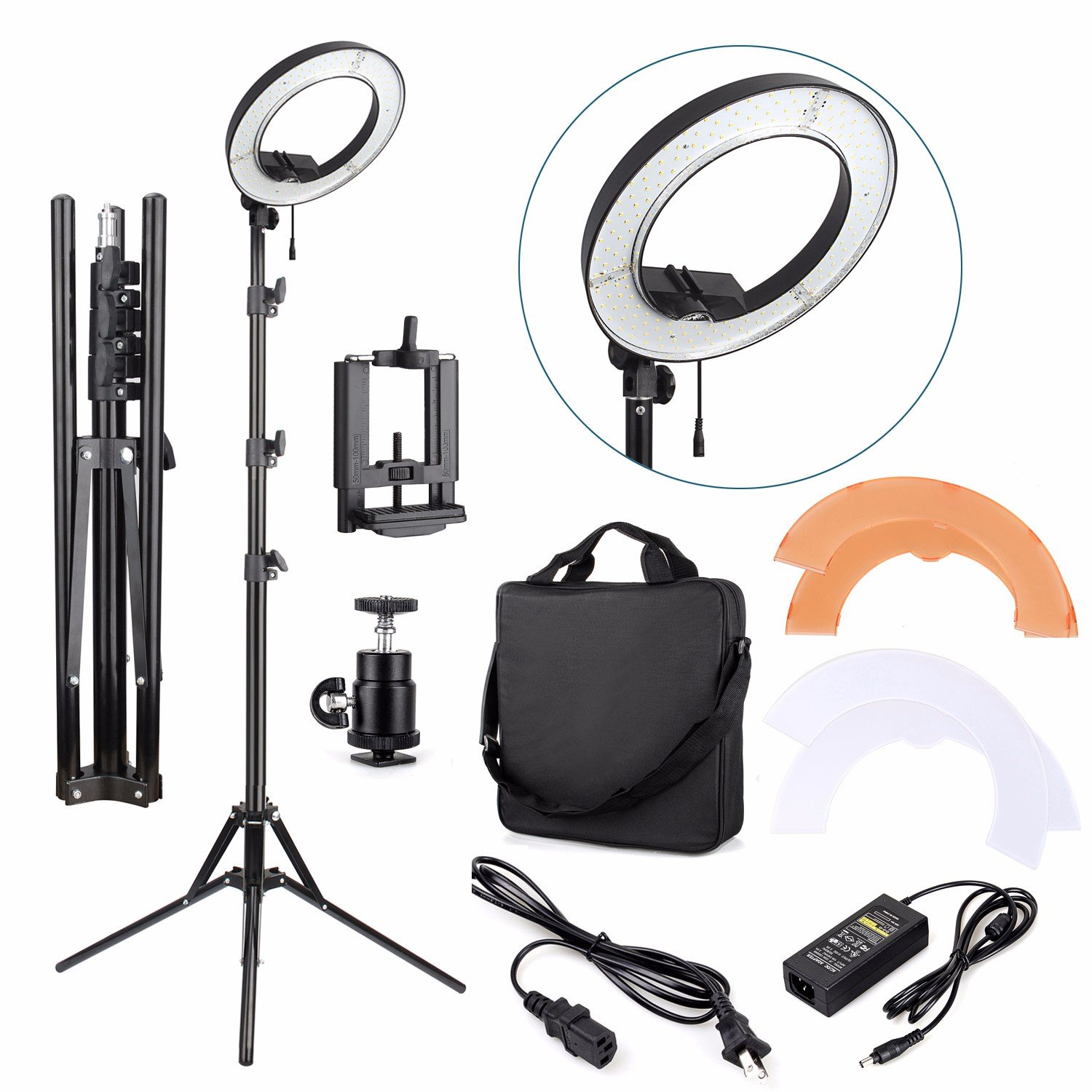 EACHSHOT ES240 Kit {Including Light, Stand, Phone Clamp, Tripod Head }240 LED 18' Stepless Adjustable Ring Light Camera Photo/Video Portrait photography 5500K Dimmable (Light Stand Included) EA700205