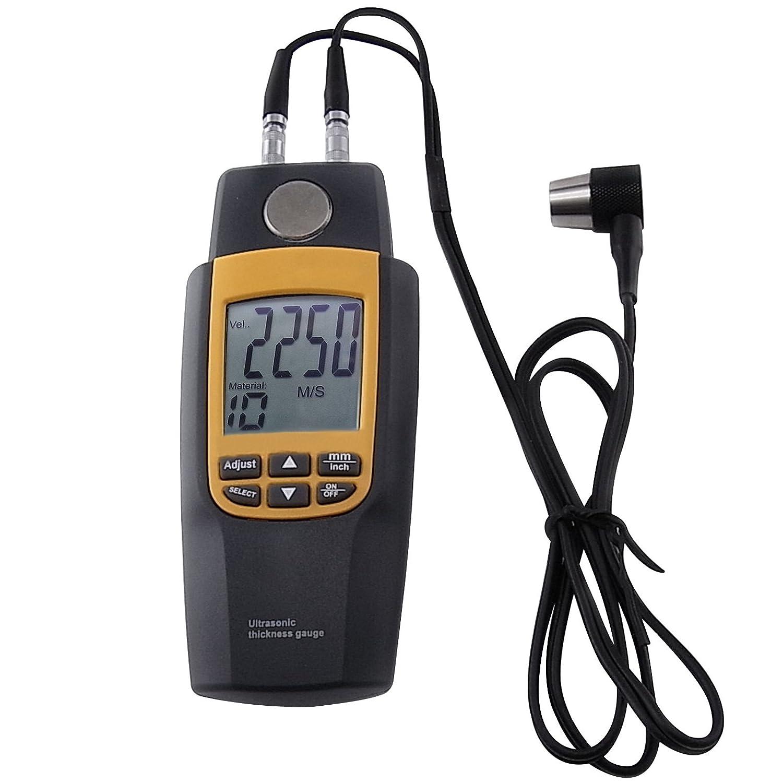 Ultrasonic Thickness Meter Tester Gauge Measure 1.2~220 mm Velocity Digital LCD for Metal Steel Aluminum Copper Glass Iron Plastics Tile Brass Gold Silver zinc