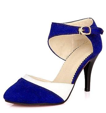 37b369a7a Minetom Mujer Boca Baja Cuero De Nubuck Tacones Altos Zapatos Color Del  Encanto De Fina Tacón Alto Sandalias Boda Fiesta