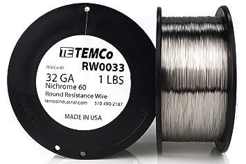 TEMCo Nichrome 60 series wire 32 Gauge 1 lb (5565 ft) Resistance ...