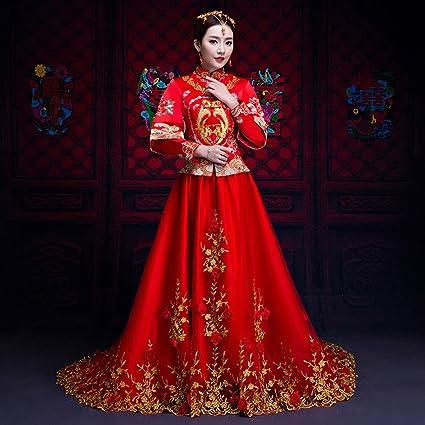 YC Vestido de Boda de la Novia Tostadas Ropa Big Vestido de Novia Rojo Tailing Vestido