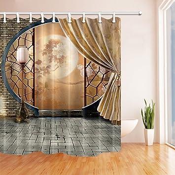 Rideaux De Douche Asiatiques Pour Salle De Bain Culture Chinoise Pivoine  Impression Sur Lu0027écran Antique ...