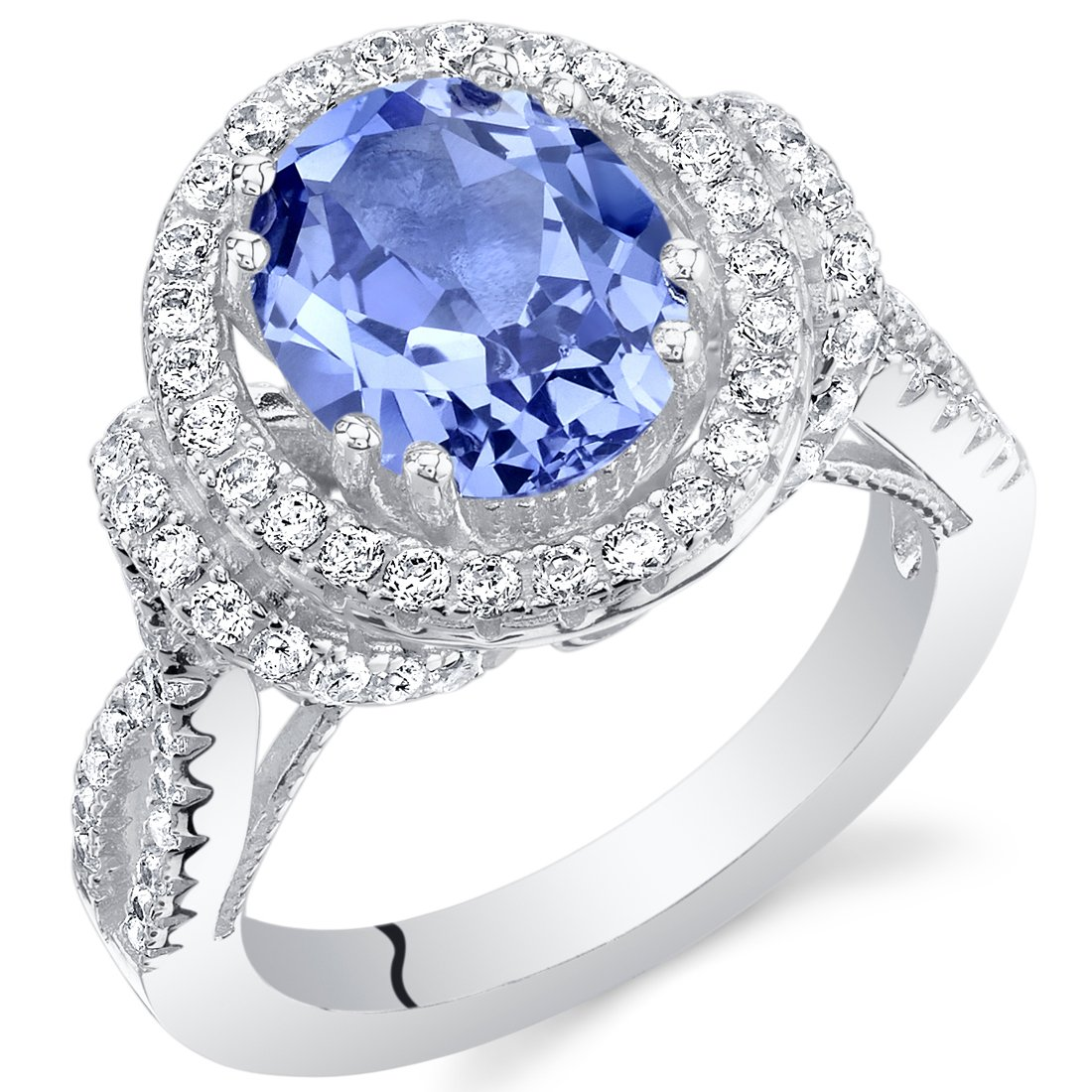 Peora Simulated Tanzanite Sterling Silver Oval Allure Ring
