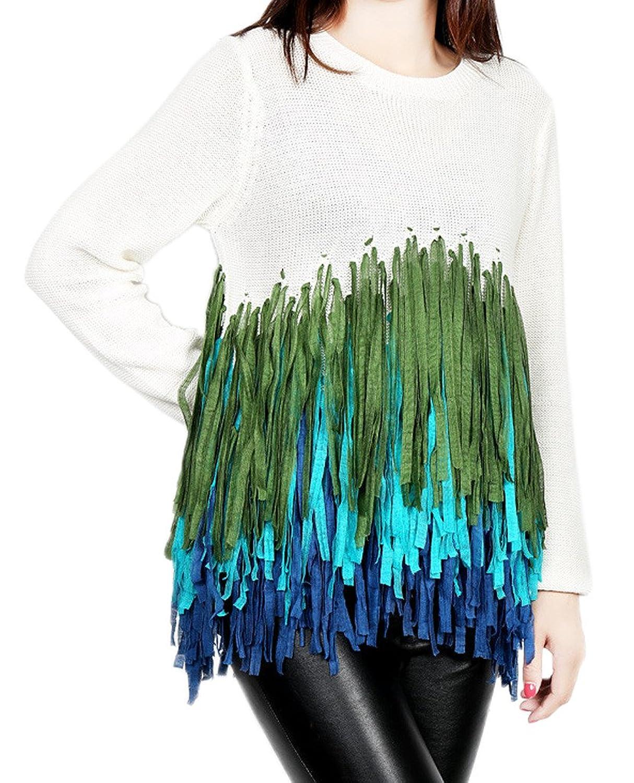 Woo2u Women's Tassels Hem Blouses Pullover Shirt Knited Sweater Outwear