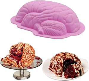 AnFun Silicone mold for brain 1 Pack Large Human Zombie Brain Mold for Cake Candy Christmas cake mould Used to make ice cubes, puddings, chocolates and cakes Halloween Baking Brain Prop Decorations