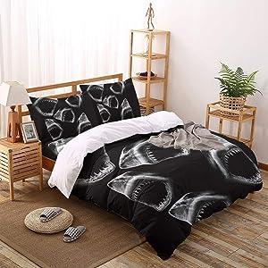 Woloudy 4PCS Bedding Sets California King Size, Black Shark Lightweight Ultra Soft Microfiber Comforter Quilt Cover with Zipper Closure and Pillow Shams 4 Piece Set