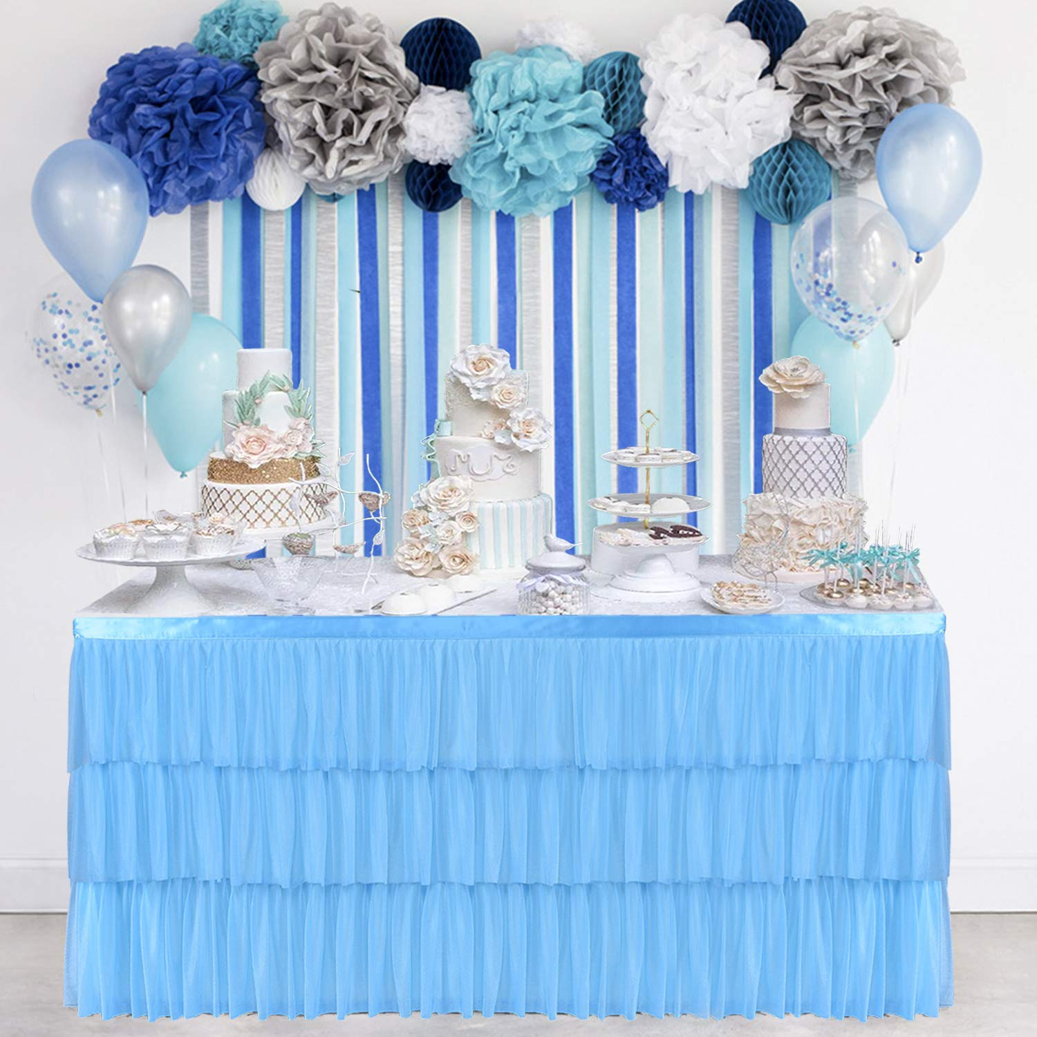 9ft Blue Tulle Table Skirt 3 Tier Mesh Fluffy with Soft Dust Lining Table Tutu Skirting for Rectangular or Round Table for Birthday, Wedding Party Supplies and Special Occasion Decor(L108Inch×H30Inch) by CO-AVE