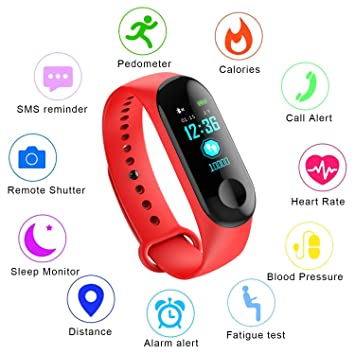 Fitness Trackers,Pantalla de color Impermeable monitor de ritmo cardíaco Pulsera inteligente Podómetro Contador de calorías Pulsera deportiva Monitor de ...