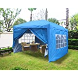 Greenbay Garden Pop Up Gazebo Party Tent Folding Wedding Canopy With 4 Sidewalls, 2 free WindBars and Carrying Bag Blue 3x3M