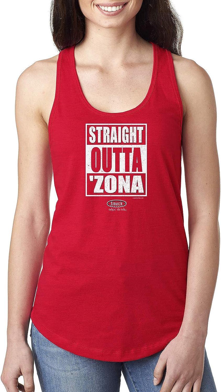 Xs-2x Straight Outta Zona Red Ladies Shirt Smack Apparel Arizona Football Fans