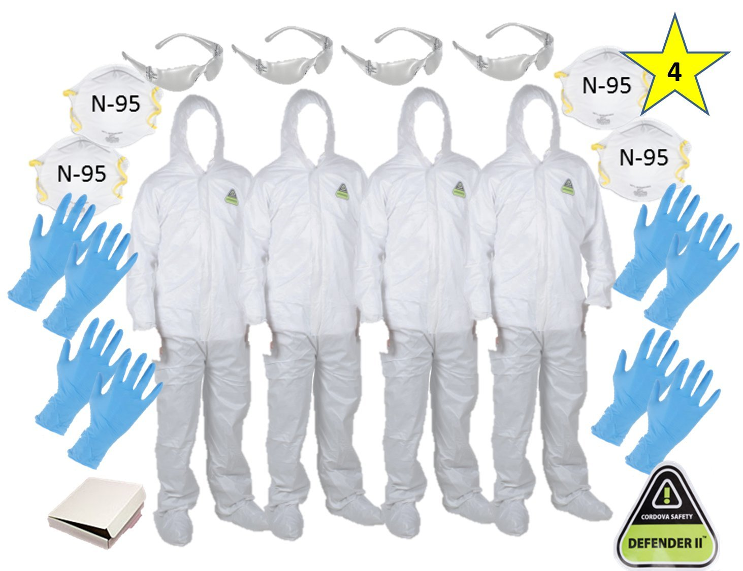 MP-400 ( XL)(Four) CORDOVA DEFENDER II White Disposable Suits Microporous paint Coveralls with Hood and Boots + 4 N-95 Masks + 4 Safety Glasses + 8 Gloves size L