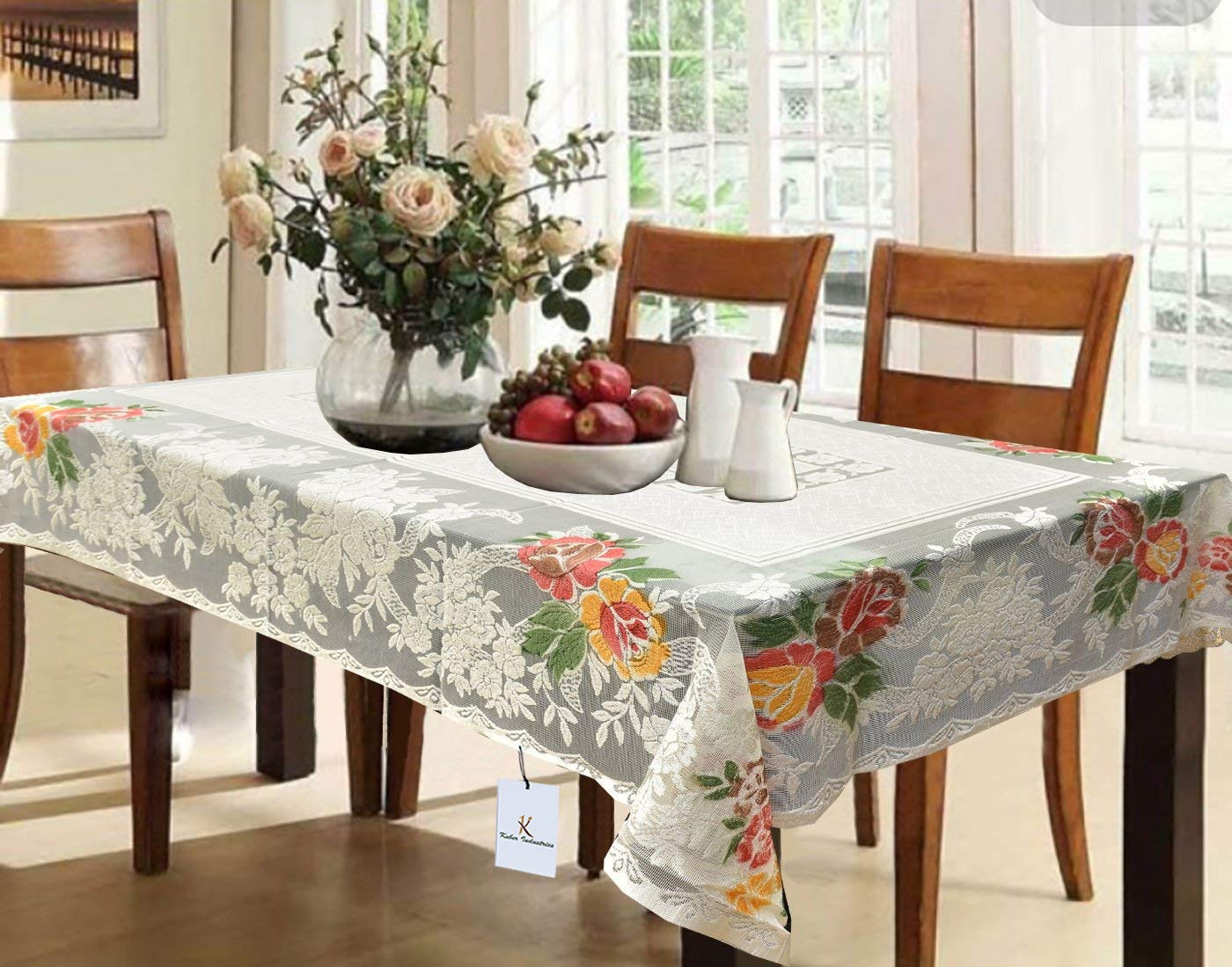 Kuber Industries Cotton Dining Table Cover For 6 Seater - Cream