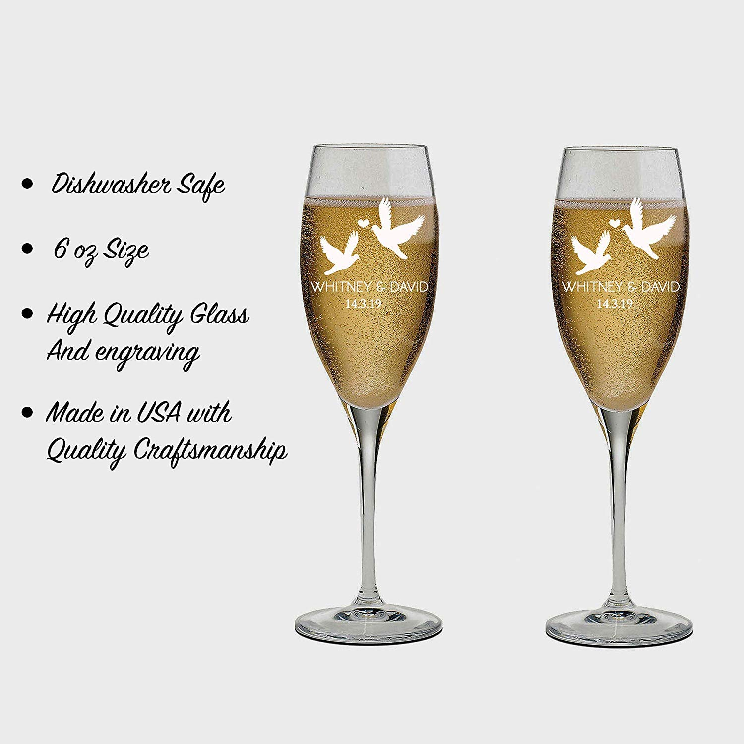 Bridesmaid Champagne Glasses Bridesmaid Champagne Flutes Set of 2 Bridal Party Gifts Personalized Champagne Glasses for Bridesmaids Gift