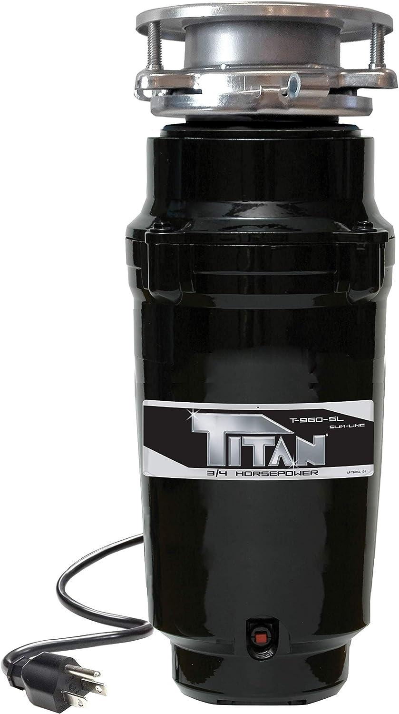 TITAN 10-US-TN-960-SL-3B Garbage Disposal, 3/4 HP - Slim Line, Black with Stainless Steel Flange