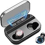 【最新版 LEDディスプレイ Bluetooth イヤホン 】ワイヤレス イヤホン 4000mAh 電池残量インジケーター付き 200時間連続駆動/ 自動ペアリング/携帯へ給電可能/IPX7防水規格/8Dステレオサウンド/Hi-Fi 高音質/音量調整/Siri対応/AAC対応/充電迅速/両耳 左右分離型/二台接続可能 完全ワイヤレス イヤホン/iPhone/iPad/Android適用