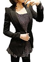 Allegra K Women's Shawl Collar Long Sleeves Slim Fit Padded Shoulder Blazer Jacket