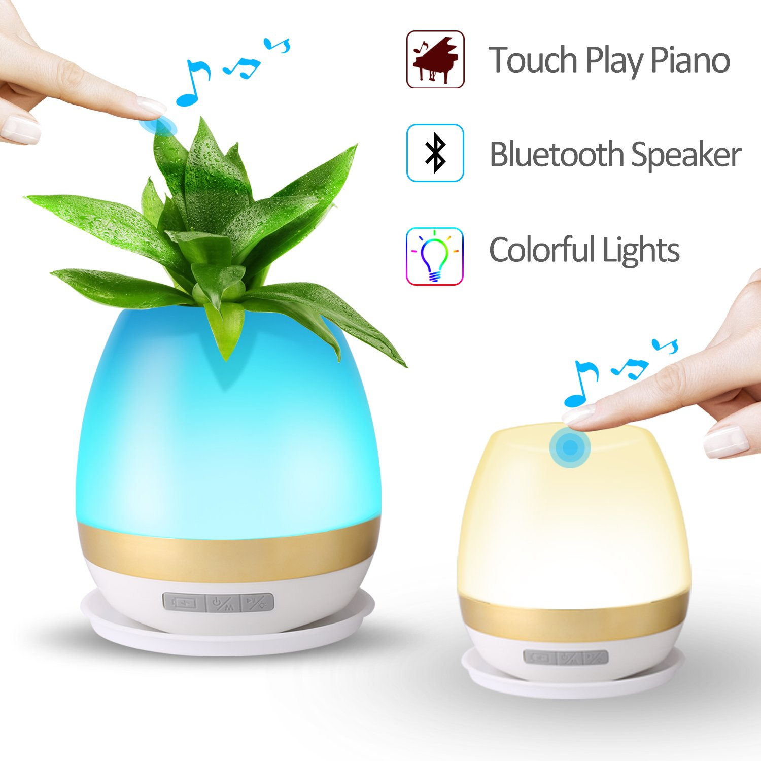 Night Light Table Lamp Wateproof Bluetooth Speaker Portable Wireless/Magic Desk Plant Pot Touch Play Piano Music/Touch LED Color Changing USB Rechargeable for Kids Bedside Bedroom Shower Women Gift