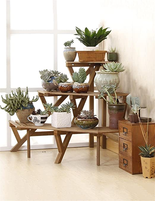ZXHJ Soporte macetas estanterias para macetas 3 - Nivel de Madera Maciza Esquina Escalera Flwoer Pot Estante Flower Rack Planta Pot Holder Asamblea Flower Pot Estante Soporte para macetas Exterior: Amazon.es: Hogar