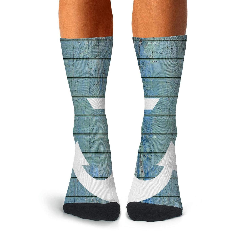 Knee High Long Stockings KCOSSH Blue Rustic Wood Nautical Anchor Novelty Calf Socks Print Crew Sock For Men