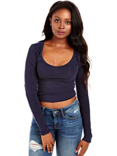 37b34fa751bd46 Bozzolo Women s Basic Sexy Scoop Neck Long Sleeve Crop Top RT8686 at ...