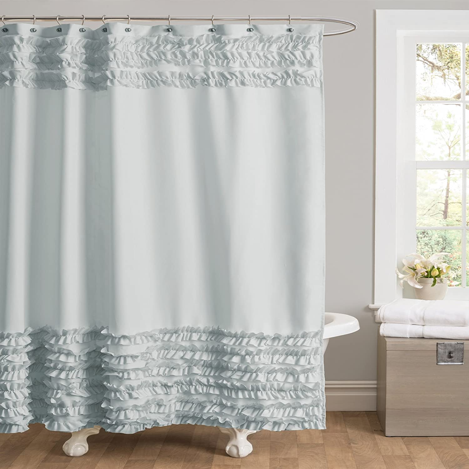 Amazon Lush Decor Skye Shower Curtain 72 by 72 Inch Turquoise