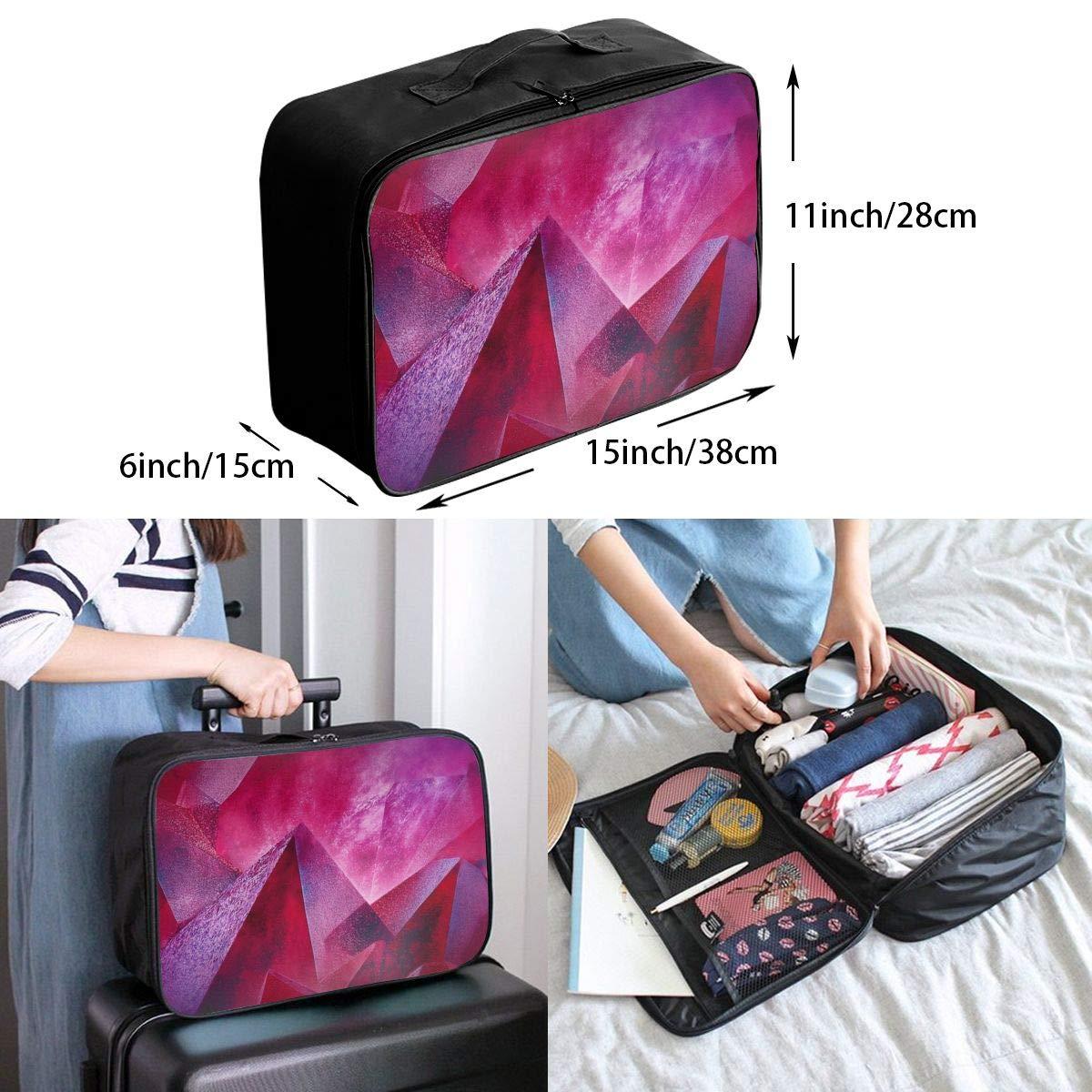 Travel Luggage Duffle Bag Lightweight Portable Handbag Geometry 3D Mountains Print Large Capacity Waterproof Foldable Storage Tote