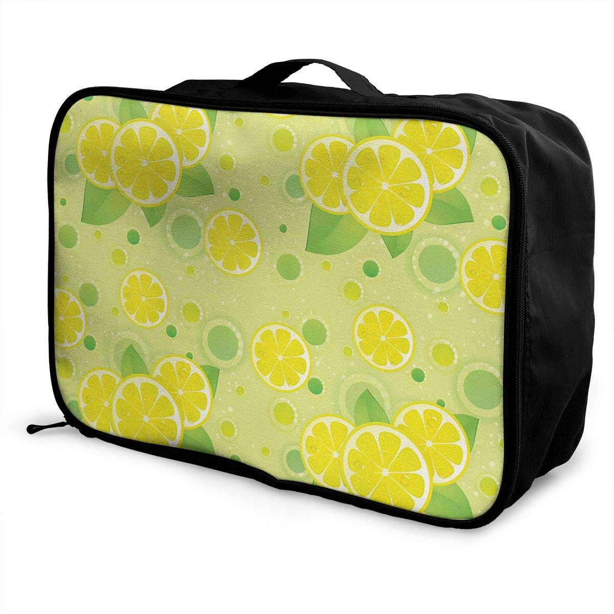 ADGAI Lemon Lime Pattern in Retro Vintage Canvas Travel Weekender Bag,Fashion Custom Lightweight Large Capacity Portable Luggage Bag,Suitcase Trolley Bag