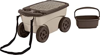 product image for Suncast Outdoor Rolling Garden Scooter - Durable Plastic Portable Garden Seat Rolls in Grass and Dirt - Carries Garden Supplies