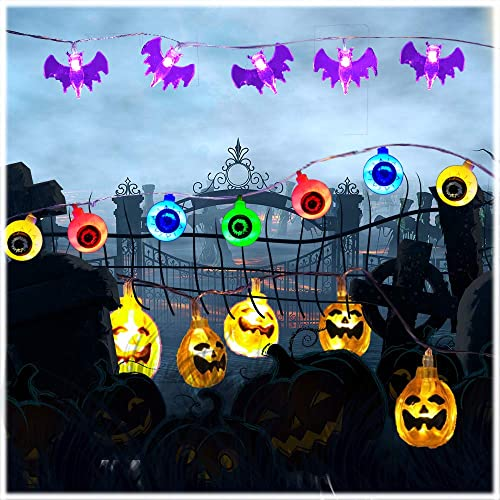 DILISEN Halloween String Lights 3Pack Outdoor Halloween Decorations Lights with 60 LED 29.3ft Pumpkin, Ghost Eye Bat String Lights Battery Operated for Outdoor Indoor