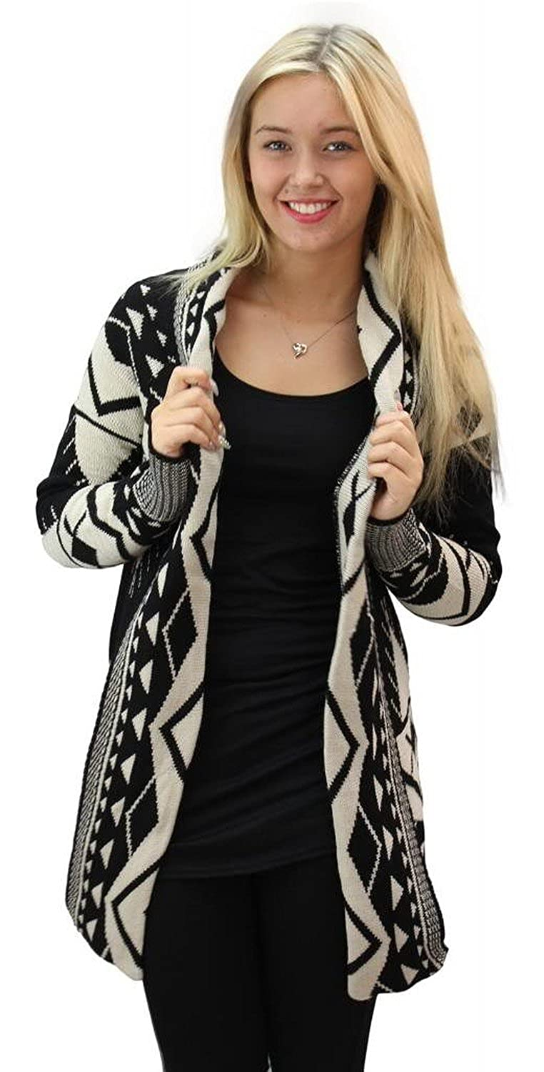Girltalkfashions Women's Aztec Long Sleeve Chuncky Open Cardigan