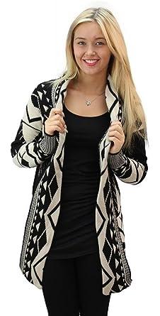 d49692286f Girltalkfashions Women Aztec Long Sleeve Chuncky Open Cardigan Small  Cream Black