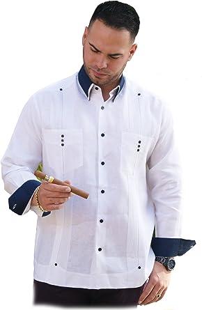 76690eee GUAYABERASCUBANAS Party Linen French Cuff Guayabera Men. Shirt. Linen 100%  at Amazon Men's Clothing store: