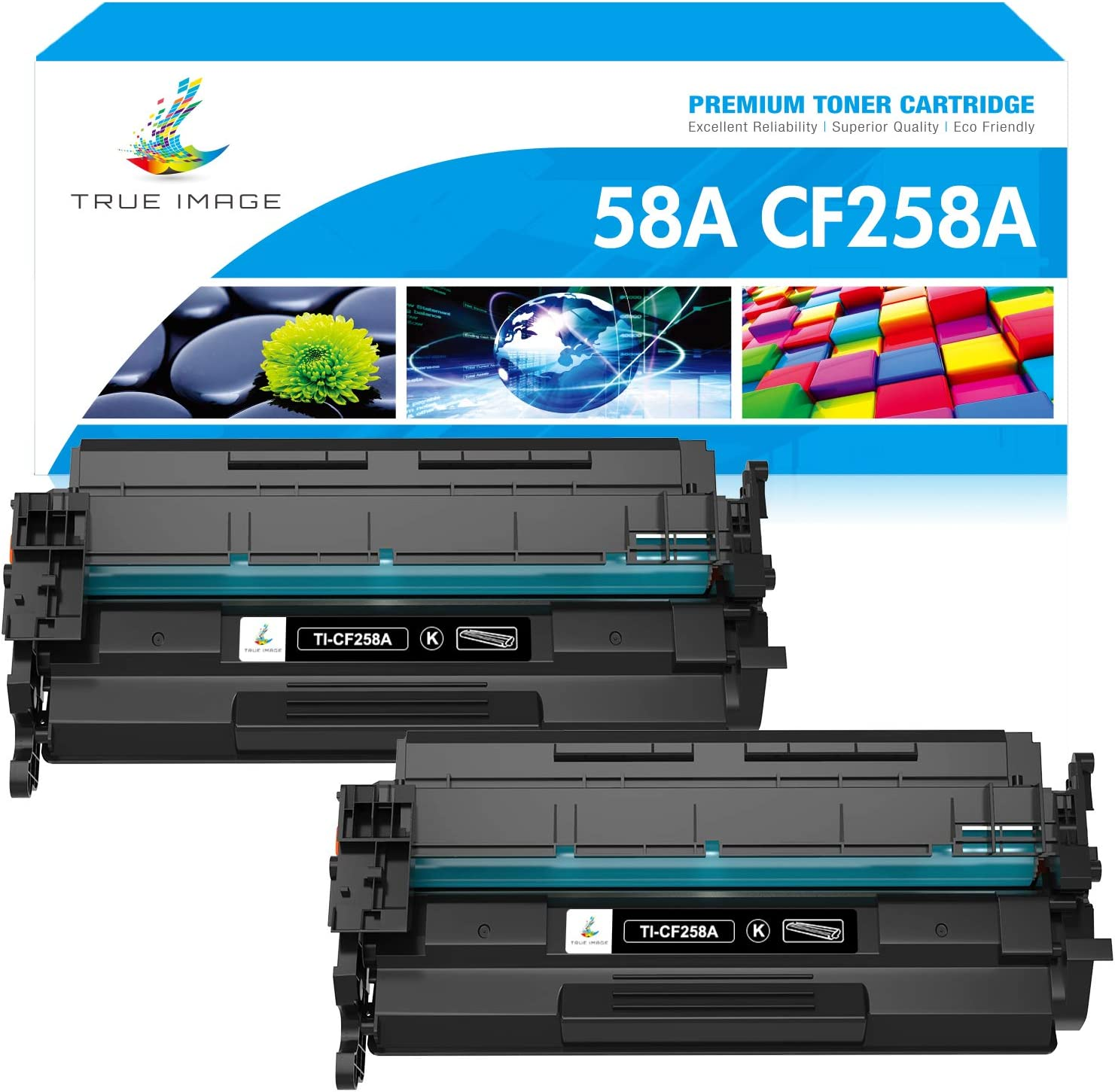 True Image Compatible Toner Cartridge Replacement for HP 58A CF258A 58X CF258X M428fdw HP Laserjet Pro M404n M404dn M404dw MFP M428fdn M428dw M304 M404 M428 Printer Toner (Black, 2-Pack)
