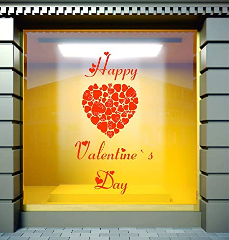 Valentine/'s Day Heart Shop Window Sticker Valentine Hearts Retail Display Decal