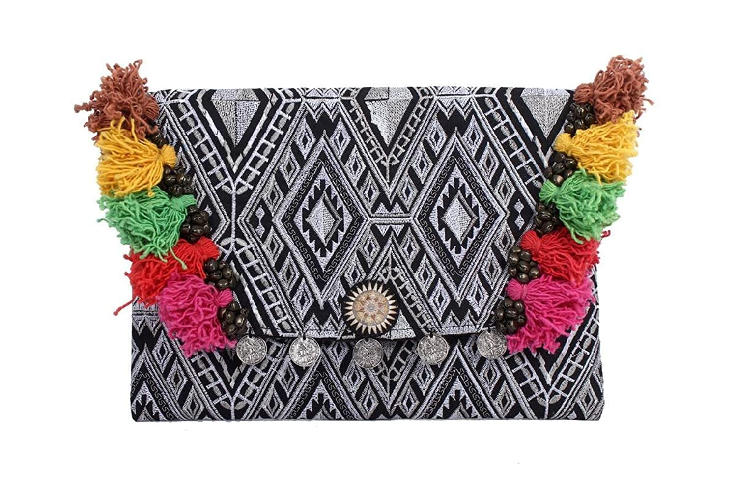 ETHNIC LANNA Handmade Guatemalan Clutch Bag with Coins, Bells and Pom Pom Fringe