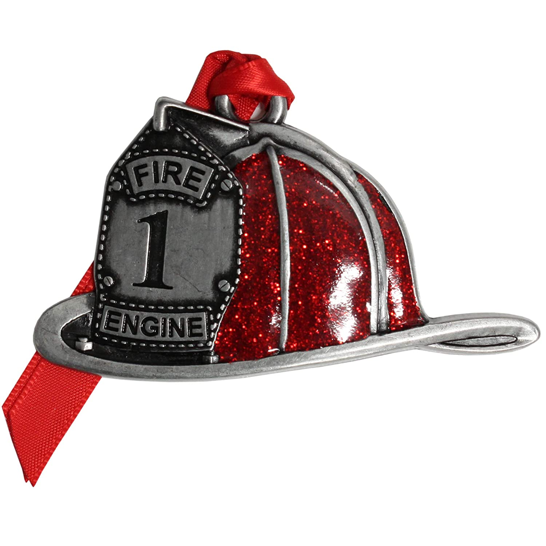 Gloria Duchin Pewter Fire Helmet Christmas Ornament Multicolor