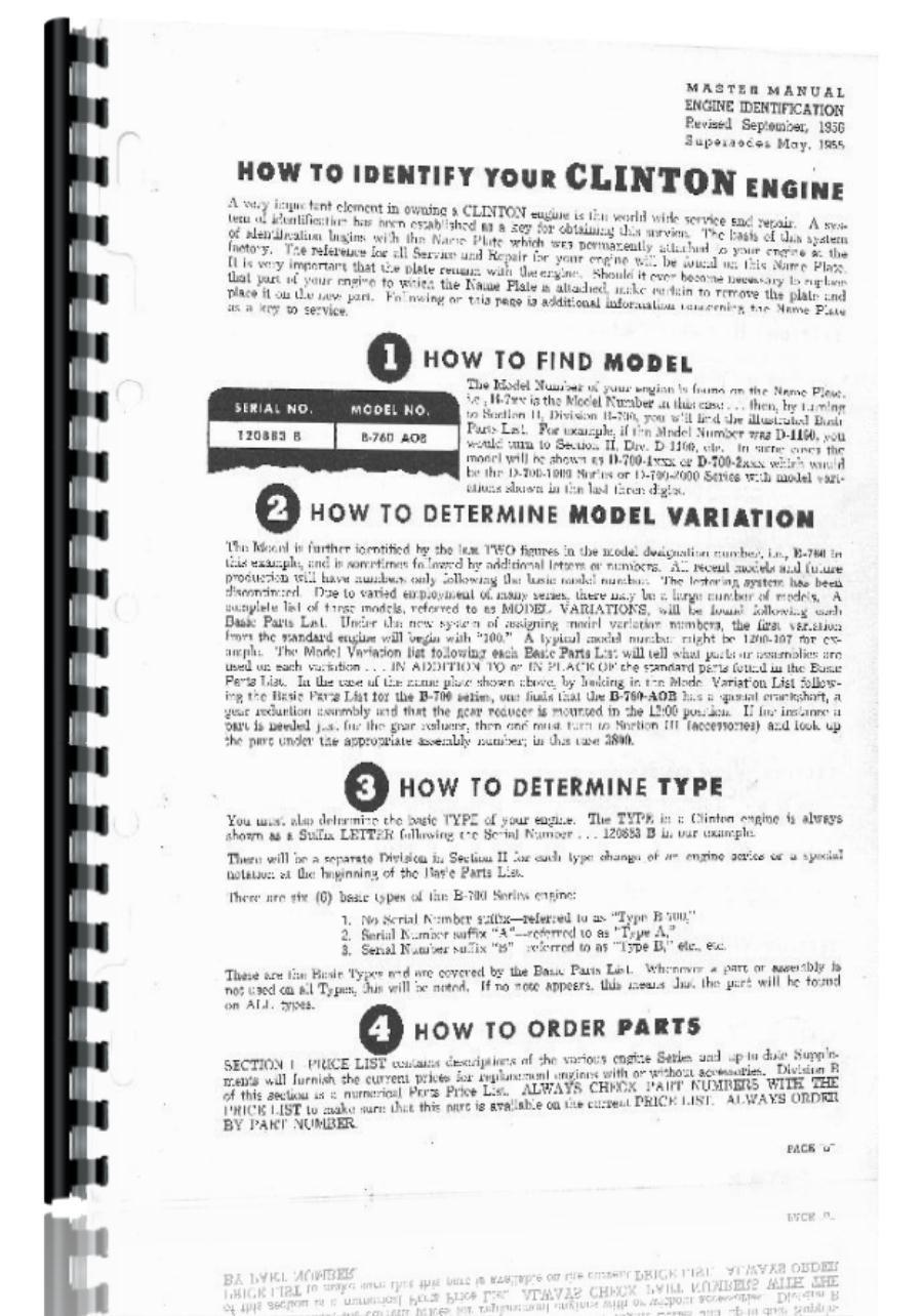 Clinton 100-1000 VS-100 VS100-1000 VS-100-2000 Engine Operators Manual:  Amazon.com: Books