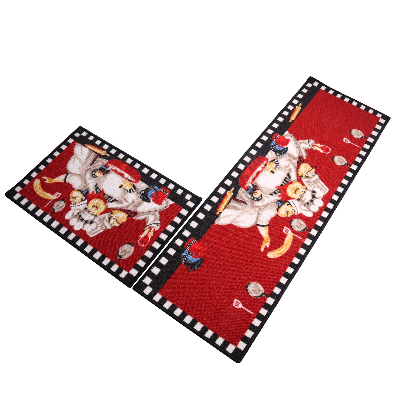 SHACOS Kitchen Rugs Mats Set of 2 Pieces Kitchen Floor Mats with Rubber Backing Non Slip Doormat Rug Runner (16x24 inch+16x47 inch, 3-Chefs)