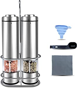 Electric Salt and Pepper Grinder Set, Battery Pepper Mill with Adjustable Grinder and LED Light, Salt and Pepper Grinders Refillable, Stainless Steel Stand, gift idea
